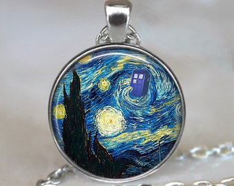 Dr Who Starry Night pendant, Vincent and the Doctor Dr Who jewelry Tardis pendant Whovian necklace Tardis jewelry key chain key ring key fob