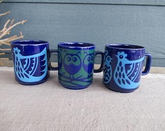 Vintage Hornsea Ceramic Coffee Mug, Chicken and Owl Design, John Clappison, 70's Graphic Mod Mugs