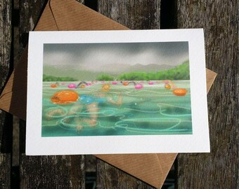 swimmer greetings card: 'To Wildcat Island and beyond!' - art card, open water swimming, triathlon, Chillswim Coniston, by Nancy Farmer