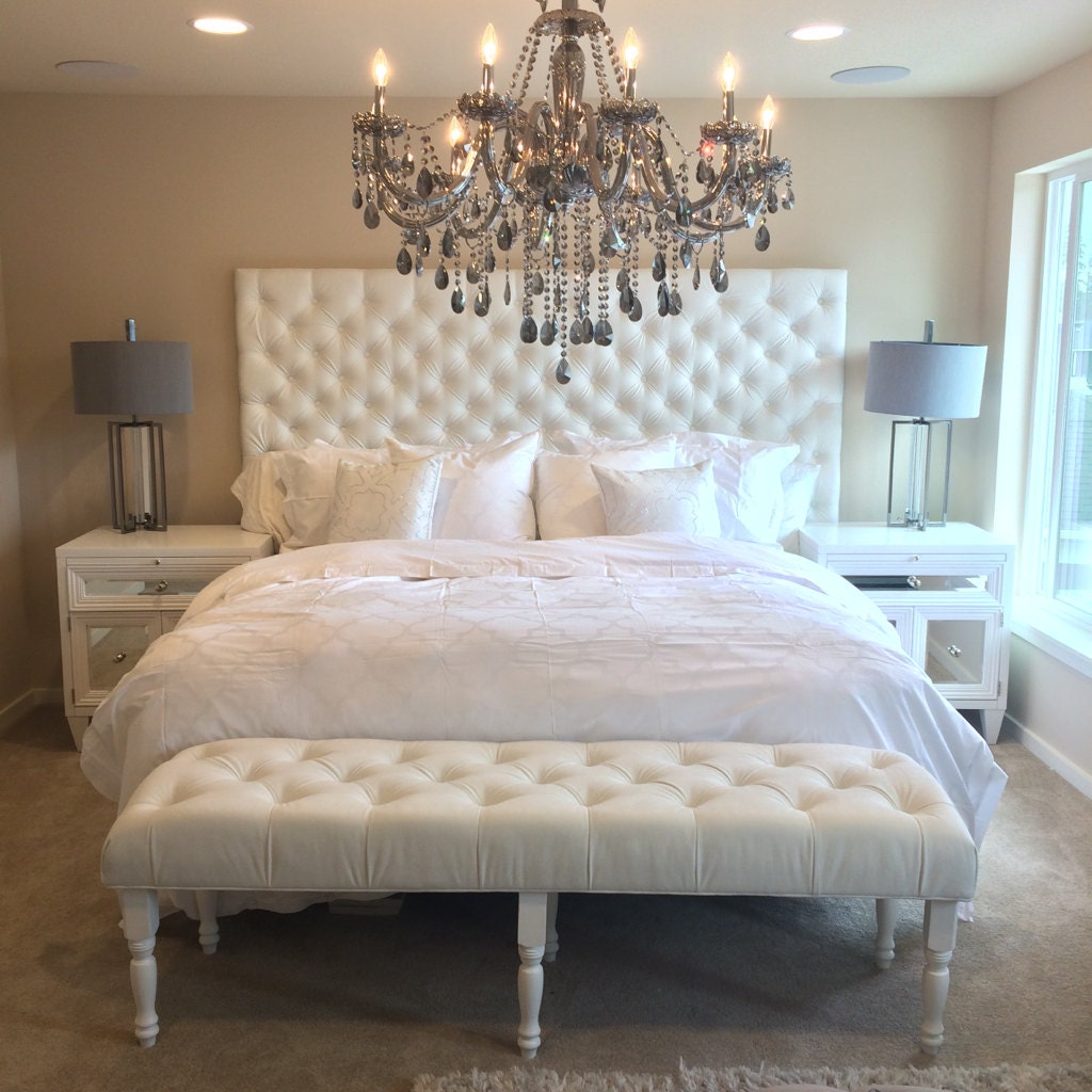 🔎zoom. extrawide king diamond tufted headboard and bench set in