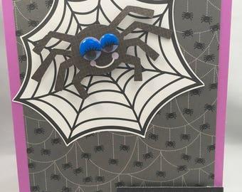 Halloween Greeting Card - Black Spider Hallween Card - Cute Spider Halloween Card