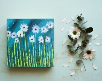 Teal Dandelion Painting  - Teal Painting  - Nature Painting  - Dandelions - Original Art - Acrylic Art - Summer Painting