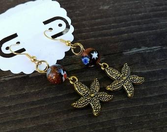 Gold Starfish Charm Earrings with Goldstone Beads - Brown Earrings - Fall Trends - Beach Earrings - Womens Jewelry
