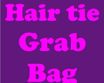 Grab bag of colorful handmade elastic hair ties - bow and/or knotted - sets of 6 or 12  - wear as bracelet on up to approx. an 8 inch wrist