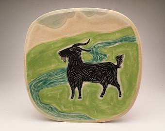 Billy Goat- large square plate- Ruchika Madan