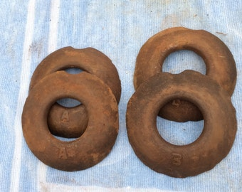 Set of 4 Vintage Iron QUOITS Throwing Pitching Yard Game 2 LB Cast Iron Amish Quoits Outdoor Party Game Lawn Games