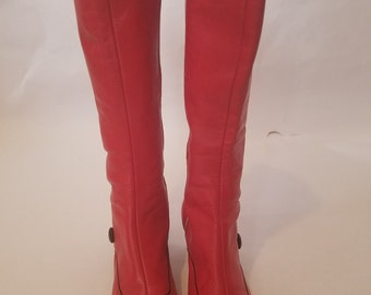 Vintage Made in USA Battani Red Leather 1960's Boots