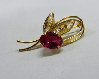Sapphire Brooch - Pink Sapphire Brooch - 14K Gold-Filled Pin with Plating of 23K Gold