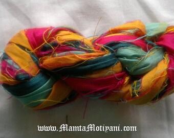 Indian Rangoli Silk Ribbon Yarn, Bright Colored Recycled  Multicolor,Sari Silk Yarn, Ribbon Yarn, Inspirational Fair Trade Art Silk Ribbon