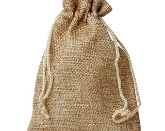 """20 Burlap Bags  - Tan with Draw Strings - 13x10cm - 5 1/2"""" x 4"""" - Ships IMMEDIATELY from California - BAG53-20"""