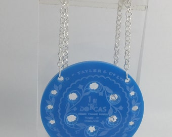 Small Blue Dorcas pin tin inspired acrylic necklace pendant Laser cut from acrylic. by Emily M A Parkin