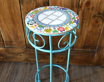 Small Metal Broken China Mosaic Table