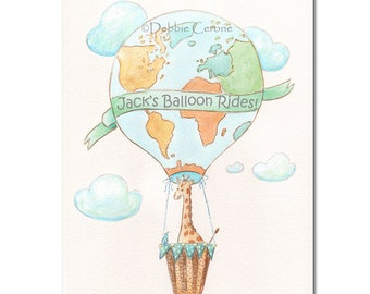 Hot Air Balloon Canvas Giraffe Nursery, Personalize Name Or Dr Seuss Quote, Oh The Places, Travel Theme Baby Shower Gift, Teal Baby Nursery
