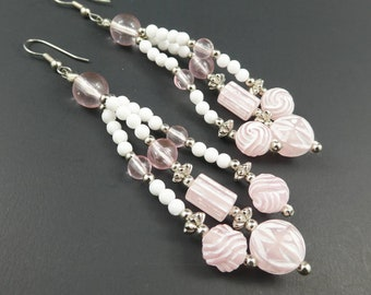 Vintage, Pink Dangle, Earrings, Plastic Beads, White, Hooks, Long