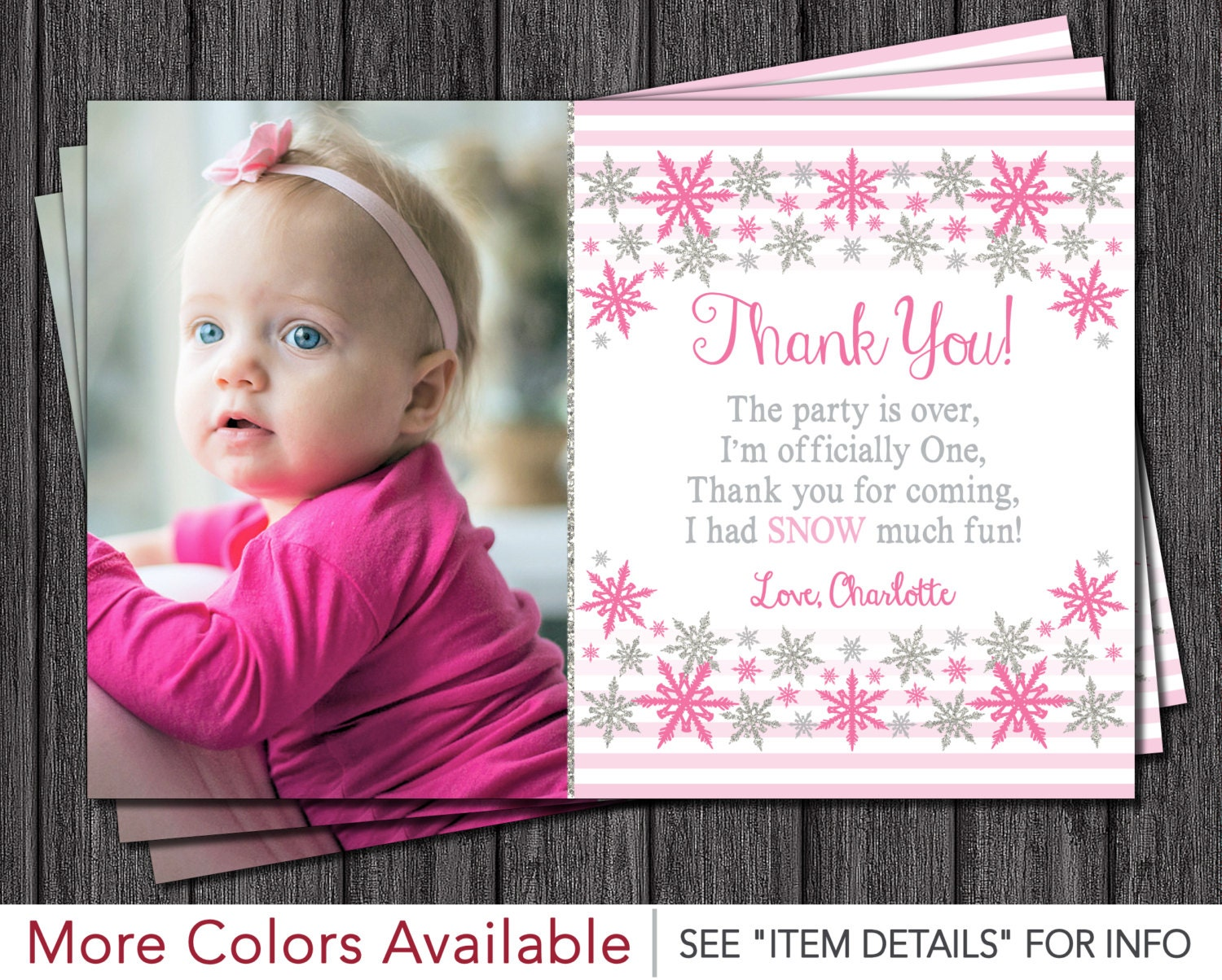 Winter Onederland Thank You Card Personalized First Birthday