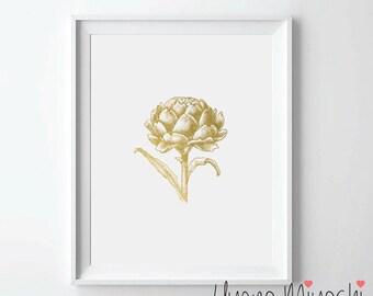 Artichoke Gold Foil Print, Gold Print, Custom Print in Gold, Illustration, Art Print, Vegetable Gold Foil Art Print, Artichoke Gold Print