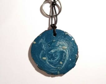 Blue Wooden Key Ring