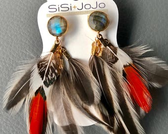 Feathers ~ Feather Earrings ~ Orange ~ Labradorite ~ Brown ~ Studs ~ Statement