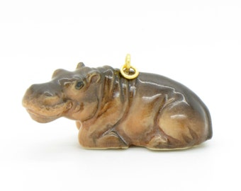 1 - Porcelain Hippo Pendant Hand Painted Glaze Ceramic Animal Small Ceramic Hippo Vintage Jewelry Supplies Little Critterz Porcelain (CA226)