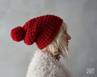 Chunky Hat - Chunky Pompom Hat - Pom pom Hat - Red Beanie - Knit Hat - Chunky Beanie - Pom pom Beanie - Gift for Her - Christmas Gift