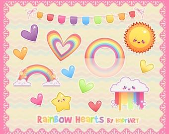 Rainbow Clip Art. Hearts Clip Art Pack.