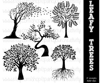 Tree, Trees Silhouettes // Fall Trees Commerical Use Silhouette // Scrapbooking Clipart // Instant Download Silhouettes