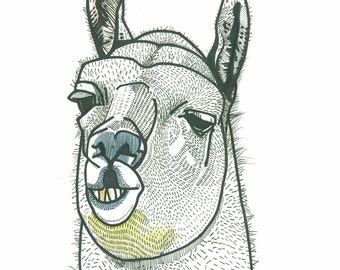 Lama print funny poster Lama illustration poster black and white A3 size