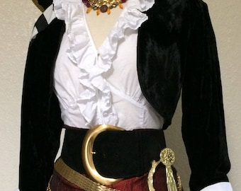 RESERVED Small Women's Deluxe Pirate Halloween Costume w/ Belts and Jewelry