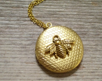 Gold Bee Locket Antiqued Gold Honeybee Gold Plated Honeycomb Locket Necklace Bee Jewelry