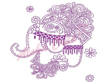 Machine Embroidery Designs Redwork Elephant Flower - Instant Digital Download