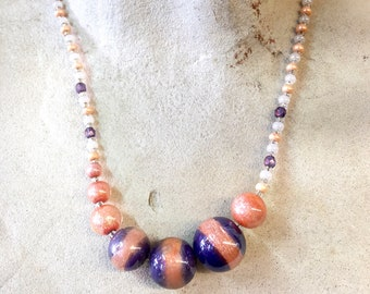 Antica Murrina Necklace, Glass Beaded Necklace, Purple, Pink, Asymmetrical Necklace, White, Blue, Beaded Jewelry, Glass Beads, Statement
