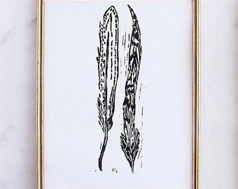 "feathers linoleum block print - 11"" x 14"" wall art"