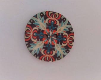 Set of 2 wooden graphic buttons multicolored new