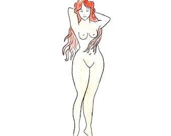 Naked Lady Temporary Tattoo