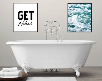 Bathroom Art | Get Naked Print | Modern Bathroom Decor | Printable Art | Digital Download | Printable Wall Art | Get Naked Poster