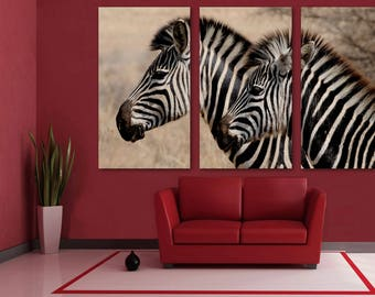Attirant Zebras Canvas Print   3 Panel Split, Triptych Wall Art. Wall Decor, Home