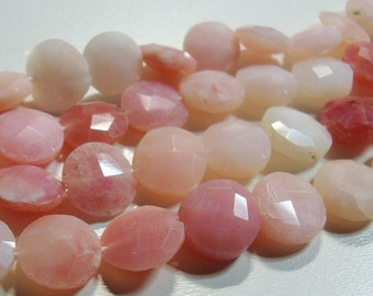 10 beads, 8-9mm Shaded Peruvian Pink Opal faceted Coin Beads