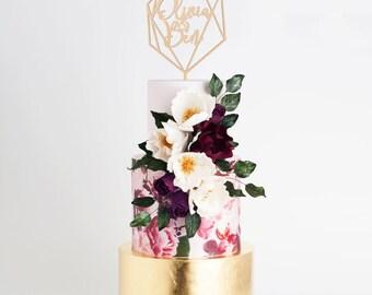 Custom Wedding Cake Topper, Personalized Cake Topper, Geometric Cake Topper, Diamond Cake Topper, Engagement Cake Topper, Wood Cake Topper