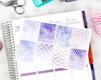 Watercolor purple box stickers - 8 decorative matte planner stickers