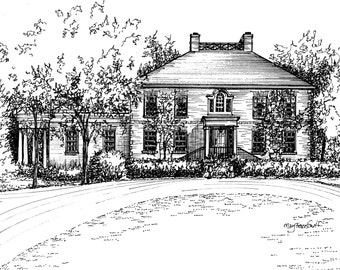 Custom House Portrait in Pen and Ink - your home drawn from photos - anniversary, new home, wedding gift