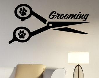 Pet Grooming Wall Decal Vinyl Sticker Window Logo Animal Decorations Pet Dog Puppy Shop Salon Decor petg1