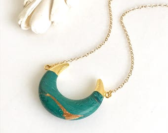 Crescent Moon Pendant Necklace in Gold. Malachite Stone Crescent Necklace.