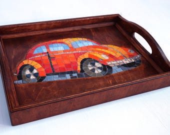 Glass Mosaic Serving Tray volkswagen beetle