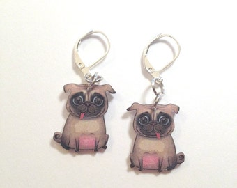 Handcrafted Plastic Pug Earrings