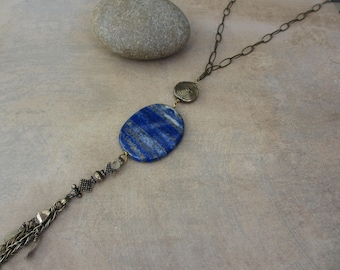 Lapis Lazuli Long Necklace, Tassel, Blue, Antiqued Brass, Bohemian, Boho Chic, Irisjewelrydesign