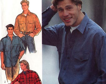 Uncut Men's CASUAL SHIRTS PATTERN Style #2386 Size Small-Extra Large Back Yoke Camp Shirt Patch Pockets Button Front Vintage Sewing