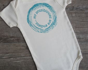 MY POSSIBILITIES are endless, Organic Baby Onesie, Organic Baby Clothes, Unique Baby Gift, Eco Friendly, Baby boy outfit, baby girl outfit