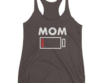 Mom Battery Charge Low Energy Drained Funny Graphic Style Women's Racerback Tank