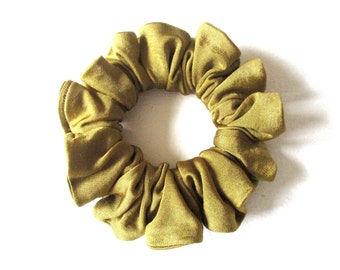mustard yellow jersey scrunchie for curly long hair, yoga accessory for women girl, handmade gift for her, hair tie, 80s 90s