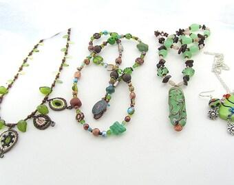 Fünfer Freitag Halskette Angebot, Grün Glas Perlen Schmuck